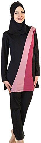 YEESAM Muslim Swimwear for Women Girls Modest Islamic Hijab Burkini Swimsuits (Asia M (Ref. US Size 4-6), Black)