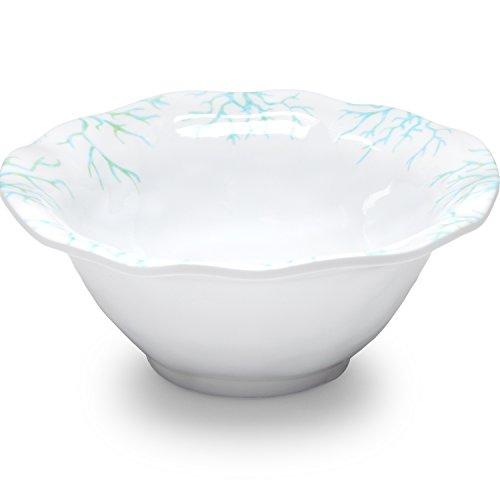 Q Squared Captiva BPA-Free Melamine Dip Bowl, 5-Inches, Set of 4, White, Blue (Fiesta Round Chip Dip Tray)