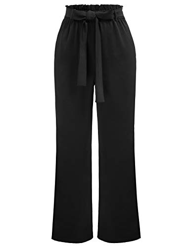 Kate Kasin Women Wide Leg Pants Full Length with Removable Belt Black