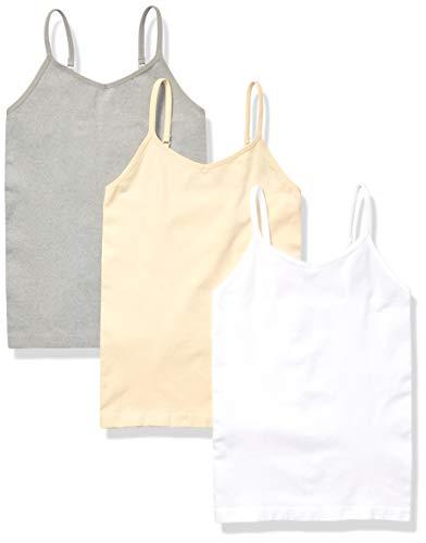 Amazon Essentials Girls' 3-Pack Seamless Camisole, White/Nude/Heather Grey, L (10)