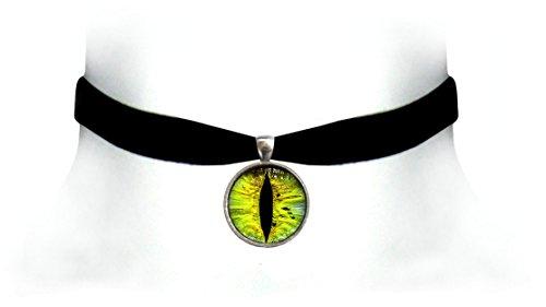 Necklace Choker Cat Eye (Victorian Vault Cat Dragon Eye Black Velvet Choker Steampunk Gothic Pendant Necklace (Lime))