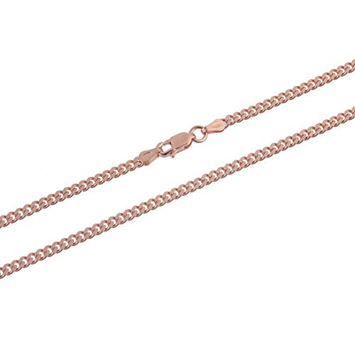 Kezef Creations Rose Gold Plated Sterling Silver 3mm Miami Cuban Link Chain Necklace 16 Inch