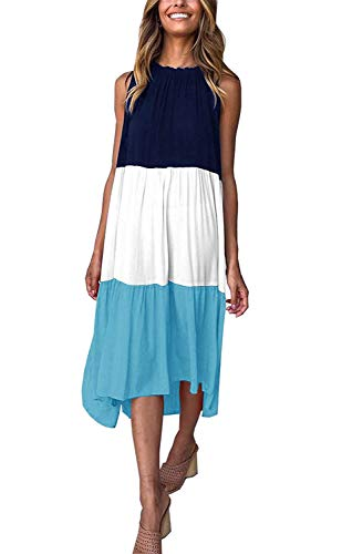 Salimdy Women's Summer Sleeveless Patchwork Color Block High Low Loose Midi Dress Blue Small