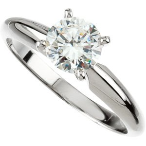 Moissanite Tiffany Solitaire - Exquisite! Women's 14k White-gold 2 ct Round Brilliant Moissanite Solitaire Engagement Ring - 8.0mm Size 5.5
