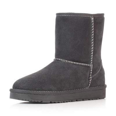 BYUYAN Stiefel Die Winter Schnee Stiefel weiblichen wasserdicht Short-Short Stiefel wasserdicht weiblichen Studenten warme Schuhe aus Baumwolle, 36, Grau b2216f