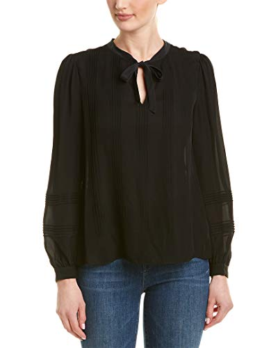 (Rebecca Taylor Women's Long Sleeve Chiffon TOP, Black, 4)