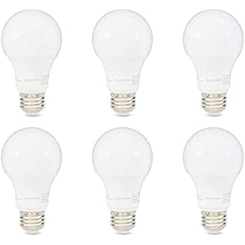AmazonBasics 40W Equivalent, Soft White, Dimmable, 10,000 Hour Lifetime, A19 LED Light Bulb | 6-Pack