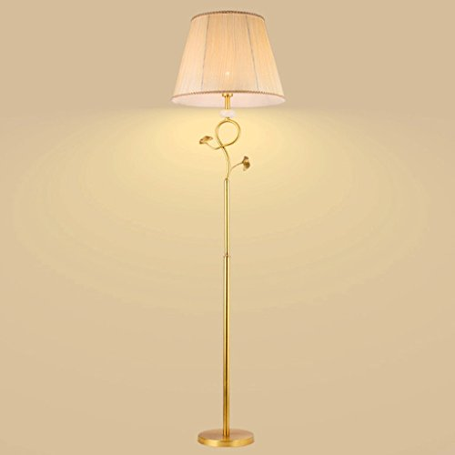 DYY European Pure Copper Floor Lamp, Natural Marble Accessories, Gingko Leaf Tree Twig Styling Lamp Post, Hand-folded Linen Fabric Shade, Simple Bedroom Living Room Bedside ()