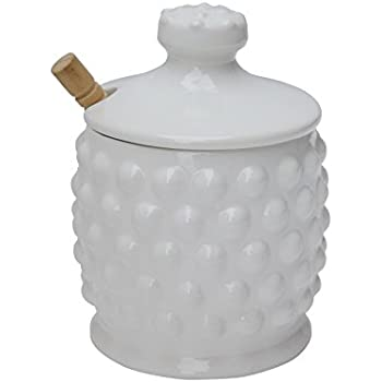 Creative Co-op DA4847 Ceramic Hobnail Style Honey Jar with Lid & Wood Dipper (Set of 2 Pieces), White