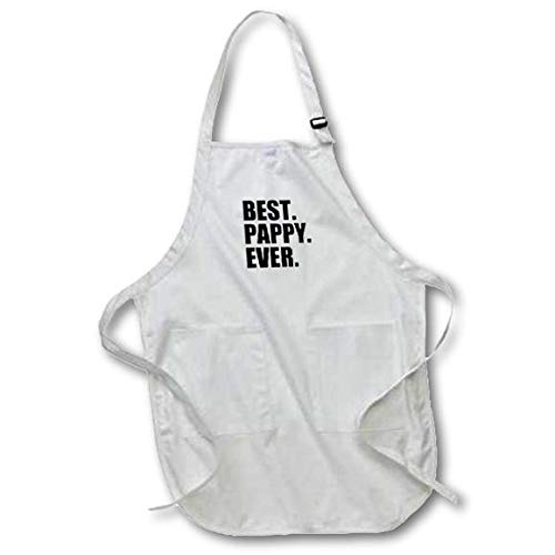 3dRose Best Pappy Ever - Gifts for Grandfathers - Granddad Grandpa Nicknames - Black Text Full Length Apron, 22 by 30-Inch, White, with Pockets (apr_151515_1)
