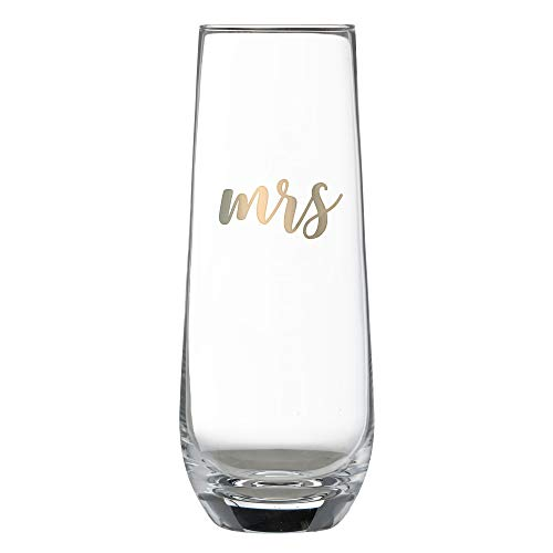 Lillian Rose G116 MS Gold Mrs. Stemless Champagne Glass, Holds 8 oz Yellow