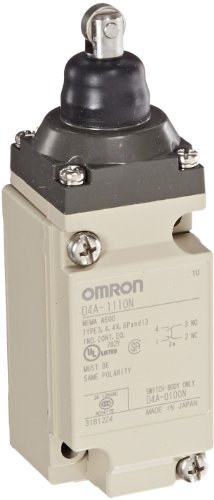 Omron D4A-1110-N General Purpose Limit Switch, Top Plunger, Roller, 1/2-14 NPT Conduit Size, Single Pole Double Throw, Double Break