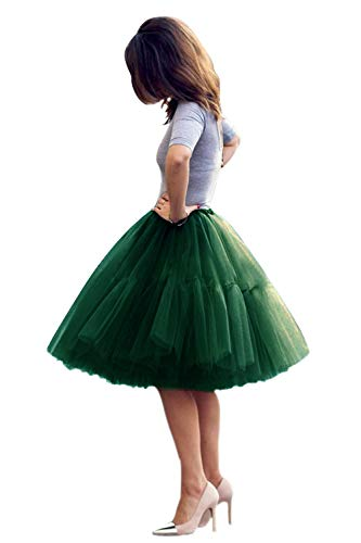 Babyonlinedress Princess Short Evening Prom Skirt Petticoat Tutu Skirt(Dark Green,One Size)