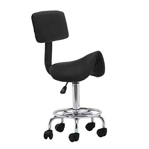 Belovedkai Adjustable Saddle Stool Chair Rolling Hydraulic Salon Massage Tattoo Facial Spa Beauty Office Backrest Stool Chair With Wheels (Black)