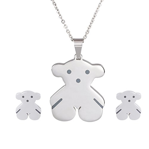 URs Silver Stainless Steel Wemen's Teddy Bear Necklace Pendant and Stud Earrings