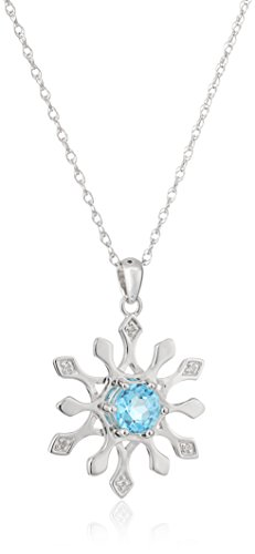 Sterling Silver Snowflake Swiss-Blue-Topaz and Diamond Accent Pendant Necklace, (Blue Diamond Snowflake Pendant)