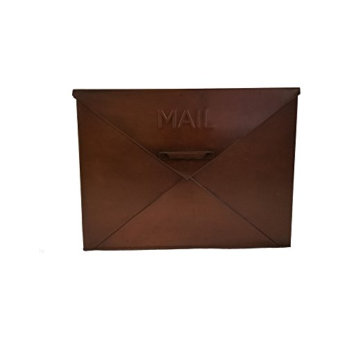 Benzara Spacious Wall Mounted Metal Mail Box, Copper (Copper Small Mailbox)