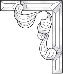 Ornate Corners - Stained Glass Supplies Ornate Corner Bevel Cluster Kit - Right Side