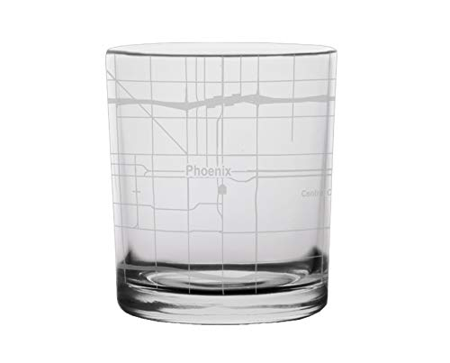 Phoenix City Map Whiskey Glass Arizona