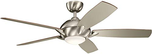 Kichler Lighting 330001BSS Geno-54 Ceiling Fan with Light Kit, Walnut/Silver Blade Finish, 54 inches, Brushed Stainless ()