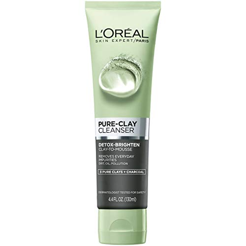 L'Oréal Paris Skincare Pure-Clay Facial Cleanser with Charcoal for Dull and Tired Skin to Detox & Brighten, 4.4 fl. oz.