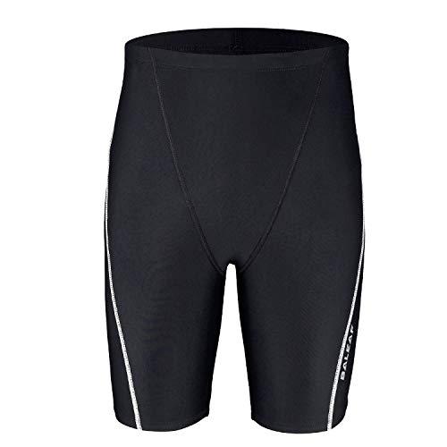 BALEAF Boys' Athletic Swim Jammer UPF 50+ Quick Dry Youth Training Swimming Short Swimsuit Black/White M