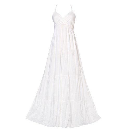 weiblich Kleider Ausschnitt Backless Sexy Sling Weiß Rock Bohemian Weiß Beach V Sommer RRqwv4BS