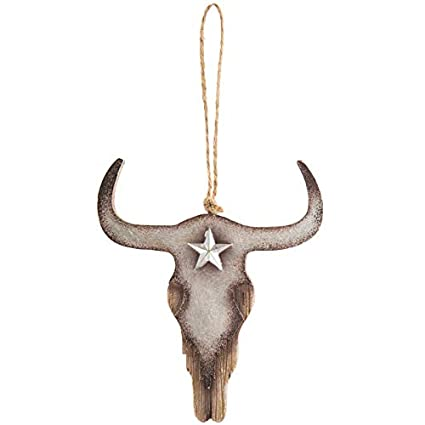 0d4477b5 Scout & Company Longhorn Skull Steer Head Hanging Ornament | Rustic Resin  Country Western Home Decor Gifts for Texas Ranch