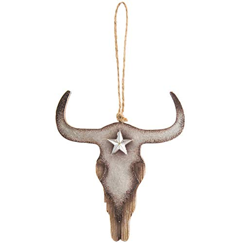 Scout & Company Longhorn Skull Steer Head Hanging Ornament | Rustic Resin Country Western Home Decor Gifts for Texas Ranch