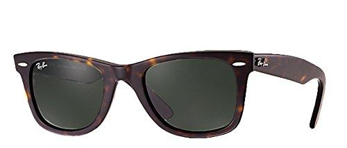 Ray-Ban RB2140 Wayfarer Sunglasses (50mm Tortoise Frame Solid G15 Lens, 50mm Tortoise Frame Solid G15 - Medium Ray Wayfarer Ban