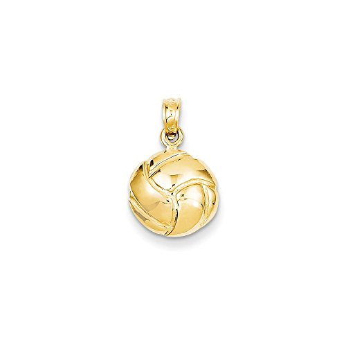 Volleyball Pendant Round Ball Charm Sports Fashion 14K Yellow Gold 14k Yellow Gold Volleyball Charm
