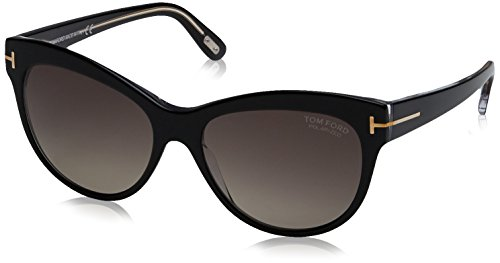 Tom Ford 430 05D Black Lily Cats Eyes Sunglasses Polarised Lens Category 3 - Ford Sunglasses Tom Cat Eyes
