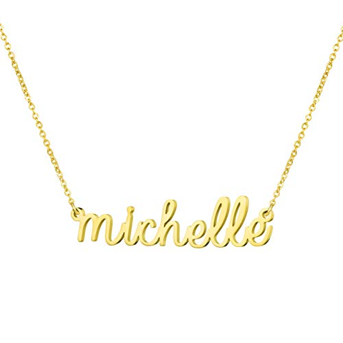 Awegift Personalized Name Necklace 18K Gold Plated New Mom Bridesmaid Gift Jewelry for Michelle