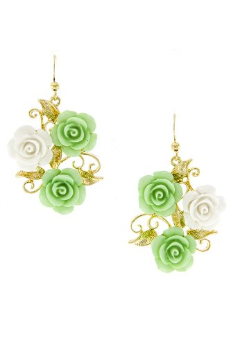 KARMAS CANVAS TWO-TONED FLOWER BOUQUET EARRING (Green) (Flower Two Toned)
