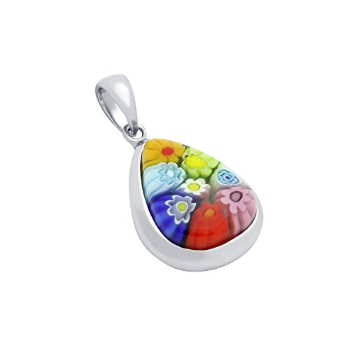 Millefiori Glass Pendant - Sterling Silver Multicolor Murano Millefiori Glass Pendant Drop Shaped (Made in Italy)