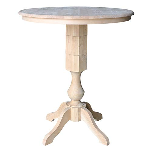 International Concepts K-36RT-11P-2 36'' Round Top Pedestal Table-40.9'' H, Unfinished by International Concepts