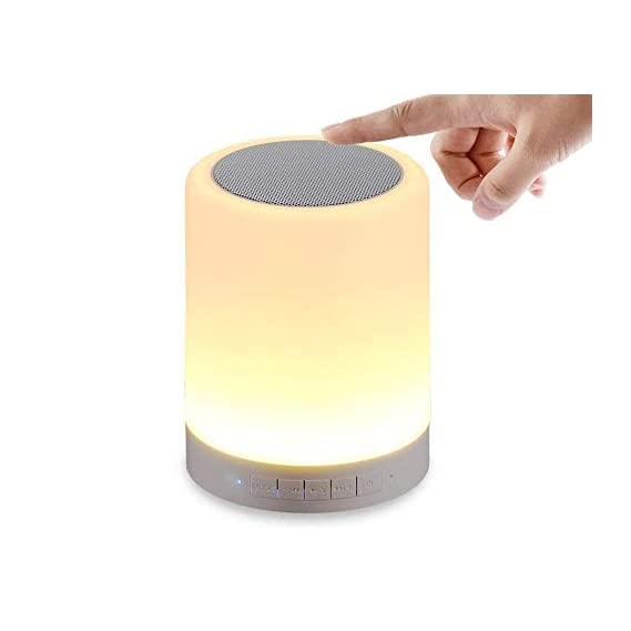 RSFuture LED Touch Lamp Bluetooth Speaker, Wireless HiFi Speaker Light, USB Rechargeable Portable with TWS, Bedside Table Lamp, Speakerphone/TF Card/AUX-in Supported