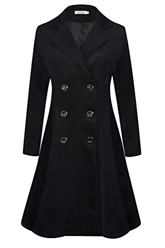 APTRO Women's Winter Lapel Double Breasted Wool Trench Coat Long Overcoat WS02 Black Large