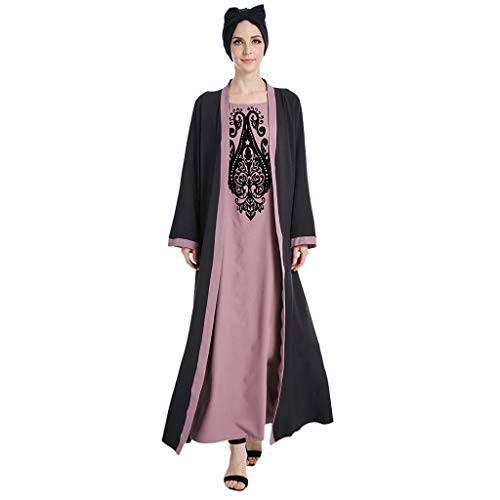 HYIRI Muslim Women's Modest Maxi Dress Elegant Abaya Turkey Long Robe Kaftan Clothes Red