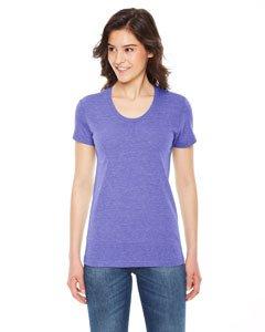 American Apparel Ladies' Triblend Short-Sleeve Track T-Shirt - TRI Orchid - L