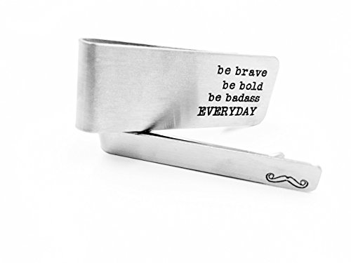 "Stainless Steel Money Clip "" Be Brave - Be Bold - Be Badass - Everyday"" - Buy 1 Get 1 Tie Clip With Logo Beard - Best Gift For Father, Husband, Boyfriend..."