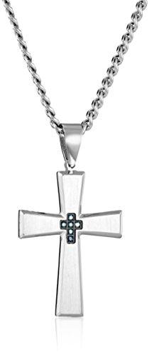 Men's Blue Diamond Stainless Steel Cross Pendant Necklace, (Brilliant Diamond Cross Pendant)