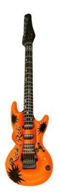1 x Fancy Dress Rock N Roll Party Inflatable Neon Coloured Guitar Orange Henbrandt