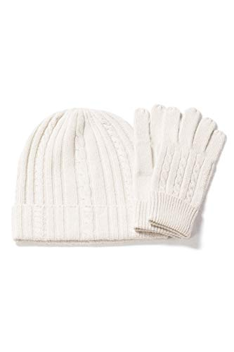 Fishers Finery Women's 100% Pure Cashmere Hat & Glove Set with Gift Box (Cream)