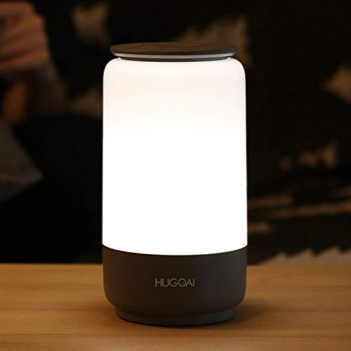 HUGOAI LED Table Lamp, Bedside Lamp, Night Light for Bedroom with Dimmable Whites, Vibrant RGB...