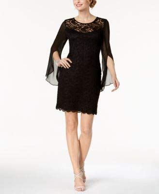 (Connected Black Chiffon Split-Sleeve Lace Shift Dress)