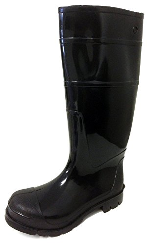 R & B R30B Men's Rain Boots Black Rubber Waterproof Knee Slip-Resistant Snow Work Shoes (11 D(M) US, Black) by R & B