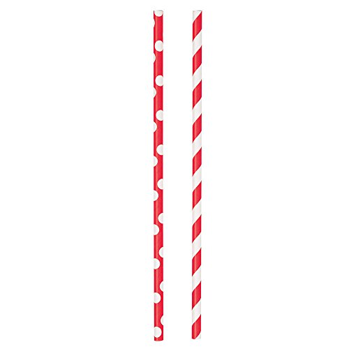 Polka Striped Paper Straws 24ct
