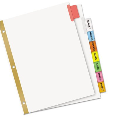 WorkSaver Big Tab Dividers, Multicolor Tabs, 8-Tab, Letter, White, 1 Set, Total 36 ST, Sold as 1 Carton