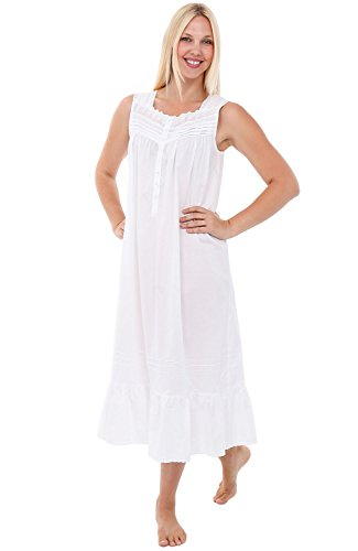 Cotton Lawn Long Gown (Alexander Del Rossa Womens Lydia Cotton Nightgown, Long Sleeveless Victorian Sleepwear, XX-Large White (A0560WHT2X))